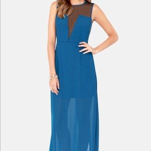 cutout Blue Maxi Dress